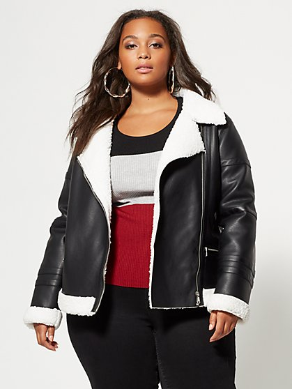 Plus Size Janie Aviator Jacket - Fashion To Figure