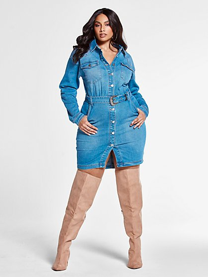 Plus Size Janie Belted Denim Shirt Dress - Fashion To Figure