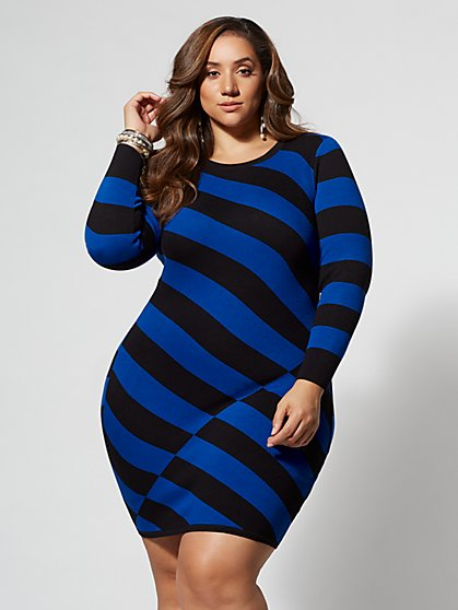 Plus Size Janina Striped Sweater Dress - Fashion To Figure