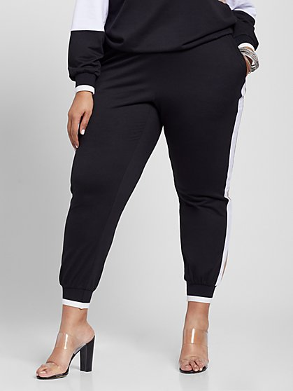 Plus Size Janine Side Stripe Joggers - Fashion To Figure