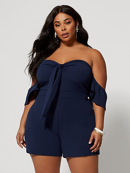 Plus Size Jarah Bow-Front Romper - Fashion To Figure