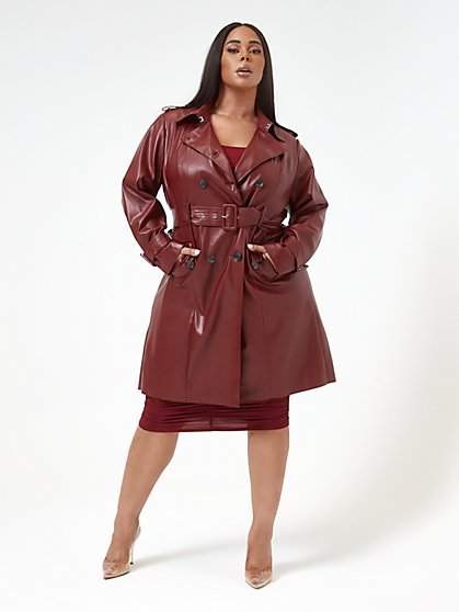 Plus Size Jasmine Long Length Faux Leather Trench Coat - Fashion To Figure