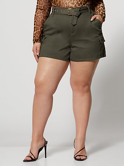 Plus Size Jaya Belted Cargo Short - Fashion To Figure