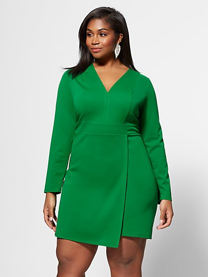 Plus Size Jayda Faux-Wrap Dress - Fashion To Figure