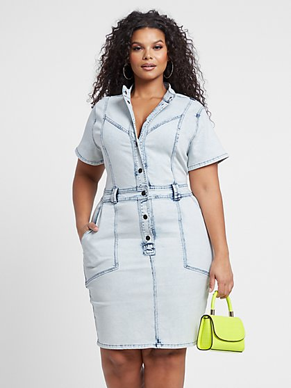 Plus Size Jayden Button Front Denim Dress - Fashion To Figure