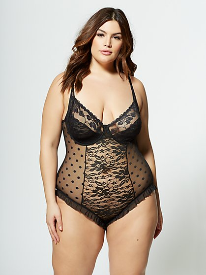 Plus Size Jazmin Lace Lingerie Bodysuit - Fashion To Figure