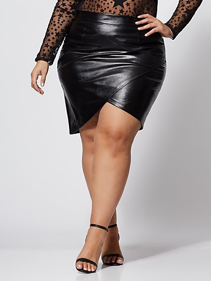 Plus Size Jeanette Faux-Leather Wrap Skirt - Fashion To Figure