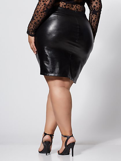 ab5475c554f ... Plus Size Jeanette Faux-Leather Wrap Skirt - Fashion To Figure