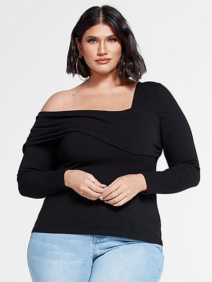 Plus Size Jenisse One Shoulder Knit Top - Fashion To Figure