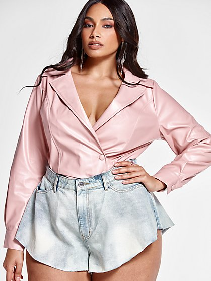 Plus Size Jenna Faux Leather Top - Fashion To Figure