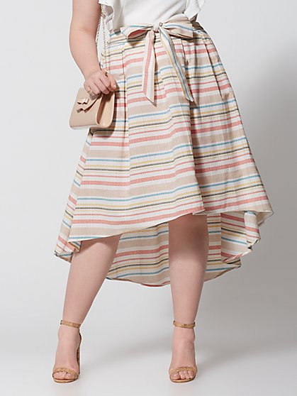 Plus Size Jennie Hi-Lo Stripe Bow Skirt - Fashion To Figure