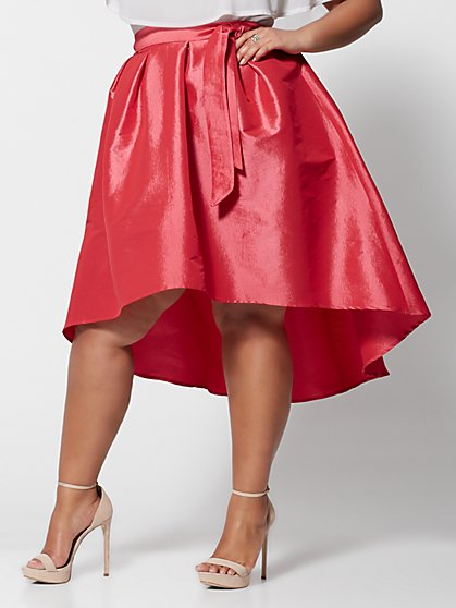 Plus Size Jennie High-Low Taffeta Skirt - Fashion To Figure