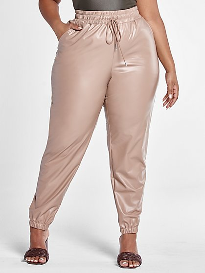 Plus Size Jennifer Faux Leather Jogger Pants - Fashion To Figure