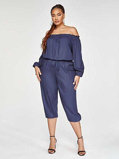 Plus Size Jenny Off-Shoulder Jumpsuit - Fashion To Figure