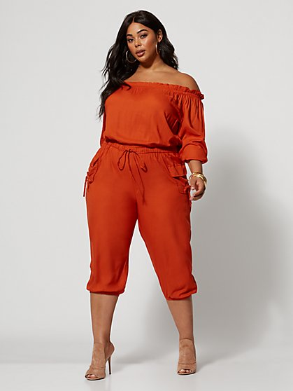 4c18c36b9bfad Plus Size Jenny Off-Shoulder Utility Jumpsuit - Fashion To Figure ...