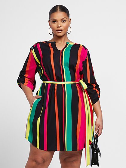Plus Size Jenny Striped Mixed Media Dress - Fashion To Figure