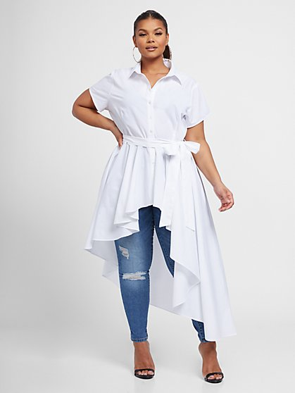 Plus Size Jessie Asymmetrical Tunic with Belt - Fashion To Figure