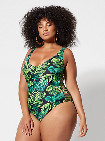 Plus Size Jessie Palm Print One-Piece Swimsuit - Fashion To Figure