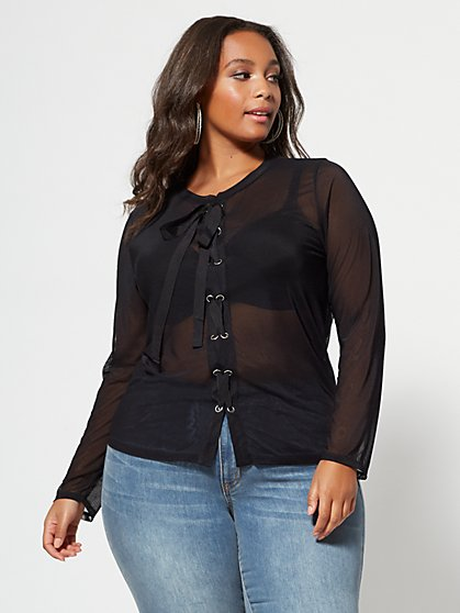 Plus Size Jett Lace-Up Mesh Top - Fashion To Figure