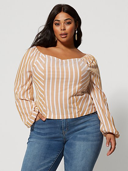 Plus Size Jocelyn Striped Princess Seam Top - Fashion To Figure