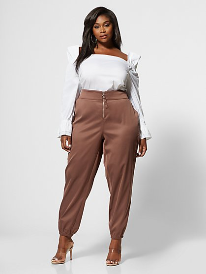 Plus Size Johanna Silky Zip Jogger Pant - Fashion To Figure