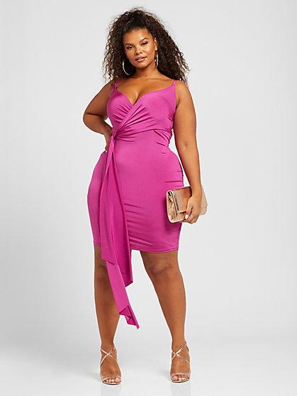 Plus Size Jordan Drape Front Slip Dress - Fashion To Figure