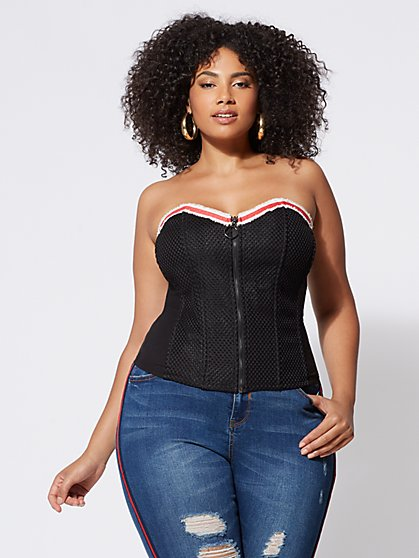 Plus Size Jordan Net-Accented Corset - Fashion To Figure