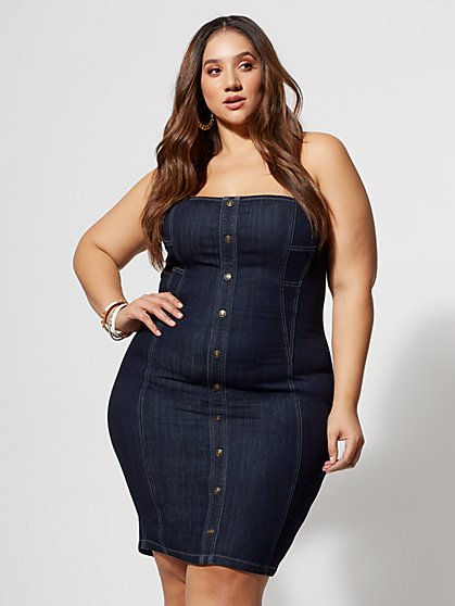 Plus Size Jordyn Denim Bodycon Dress - Fashion To Figure