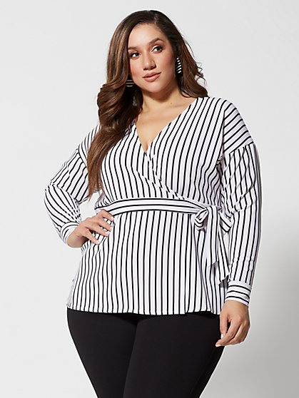 Plus Size Josefina Stripe Wrap Top - Fashion To Figure