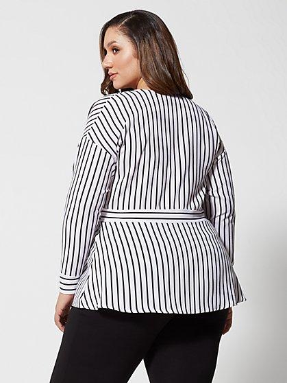 bcf53f25174 ... Plus Size Josefina Stripe Wrap Top - Fashion To Figure ...