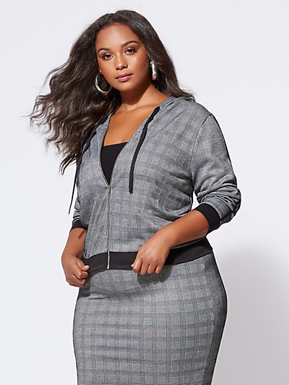 Plus Size Josie Plaid Hooded Jacket - Fashion To Figure