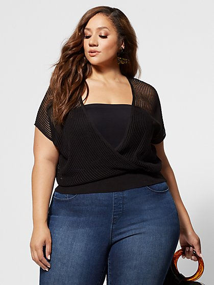 Plus Size Journie Faux-Wrap Sweater - Fashion To Figure