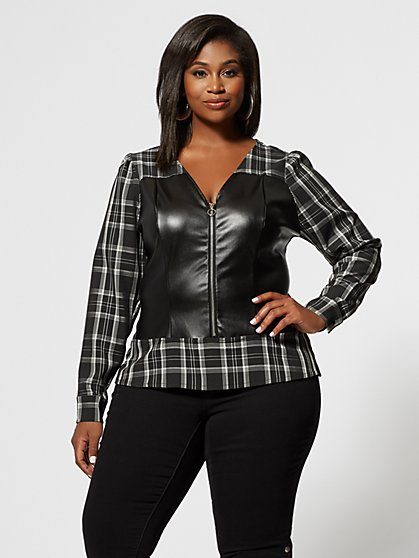 Plus Size Jules Faux-Leather and Plaid Top - Fashion To Figure
