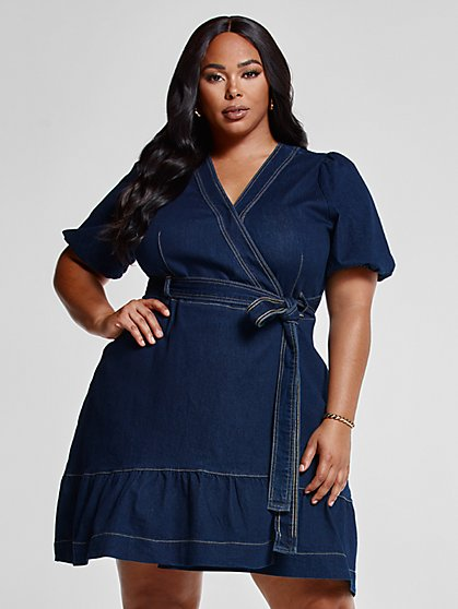 Plus Size Julia Denim Front Tie Wrap Dress - Fashion To Figure
