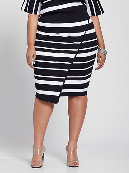 Plus Size Julia Rib Knit Striped Sweater Skirt - Gabrielle Union x FTF - Fashion To Figure