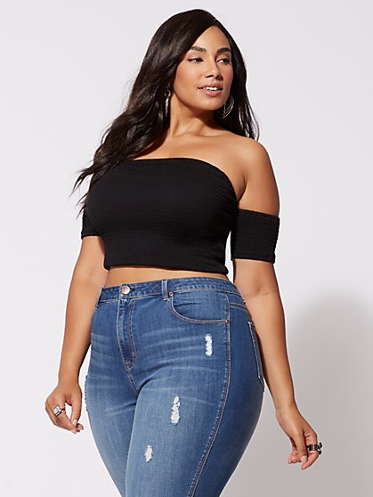 Plus Size Julie Smocked Crop Top - Fashion To Figure