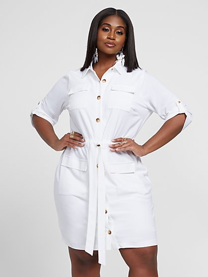 Plus Size Juliet Button Up Shirt Dress - Gabrielle Union x FTF - Fashion To Figure
