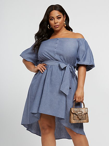 Plus Size Juliet Off-The-Shoulder Chambray Dress - Fashion To Figure
