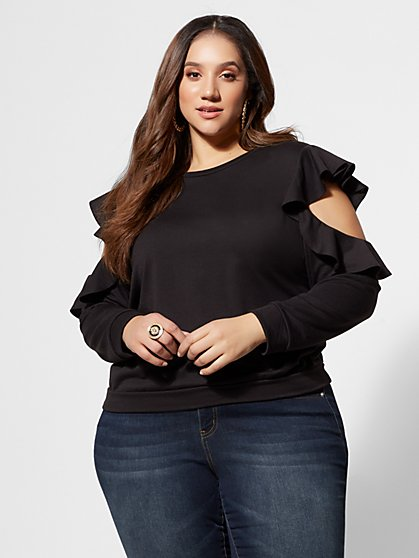 Plus Size Juno Ruffle Shoulder Top - Fashion To Figure