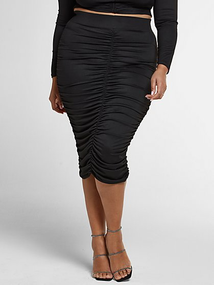 Plus Size Justine Ruched Pencil Skirt - Fashion To Figure