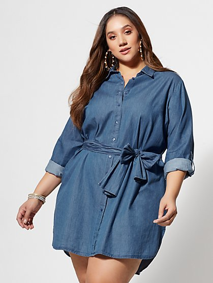 Plus Size Kacey Tie-Front Denim Shirt Dress - Fashion To Figure
