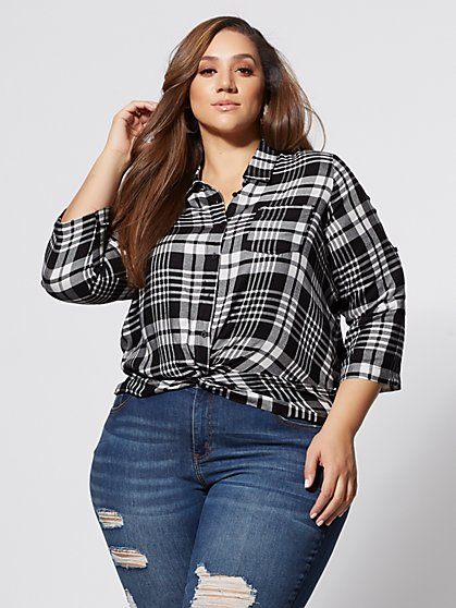 Plus Size Kacie Knot-Front Plaid Top - Fashion To Figure