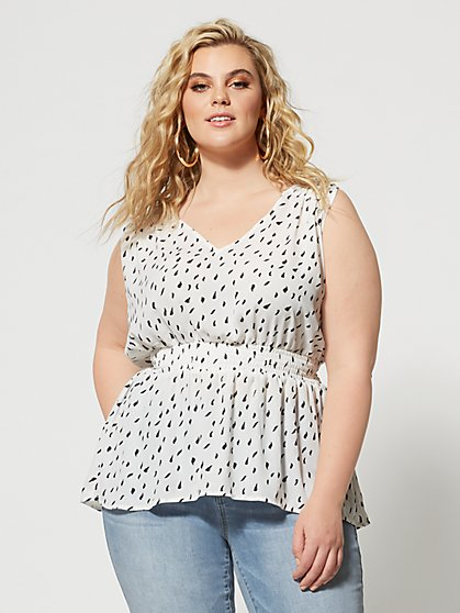 Plus Size Kadee Polka Dot Peplum Top - Fashion To Figure