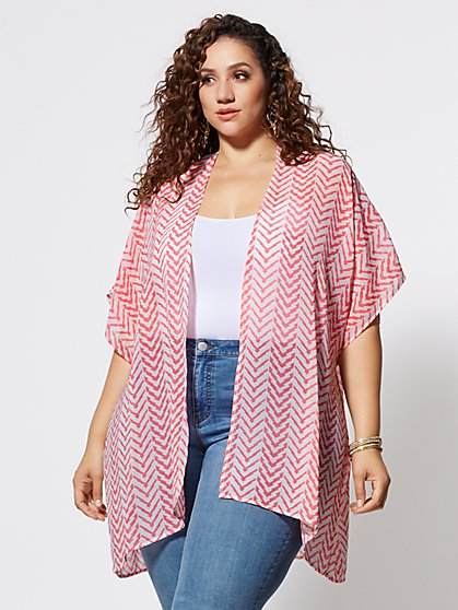 Plus Size Kaia Chevron Kimono - Fashion To Figure