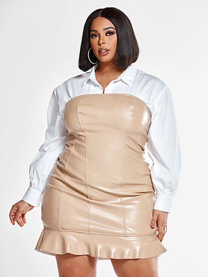Plus Size Kaila Strapless Faux Leather Dress with Ruffle Hem - Fashion To Figure