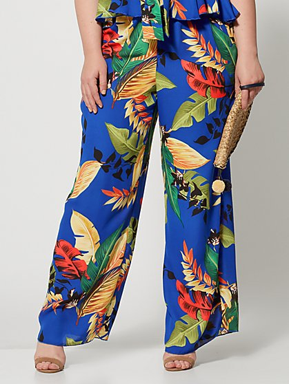16dafd546 Plus Size Kaili Tropical Print Flare Pants - Fashion To Figure ...