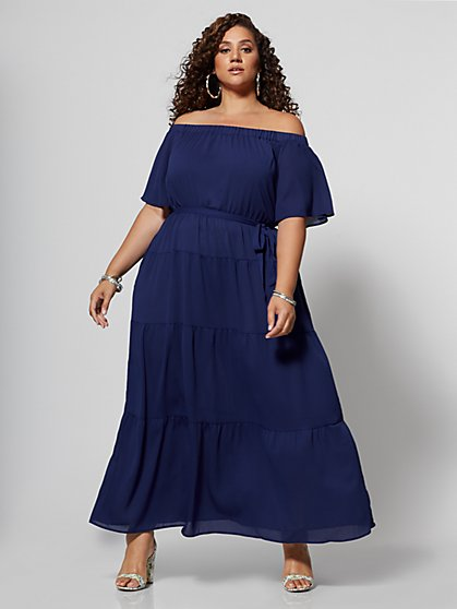 Plus Size Kaitlyn Off Shoulder Maxi Dress - Fashion To Figure
