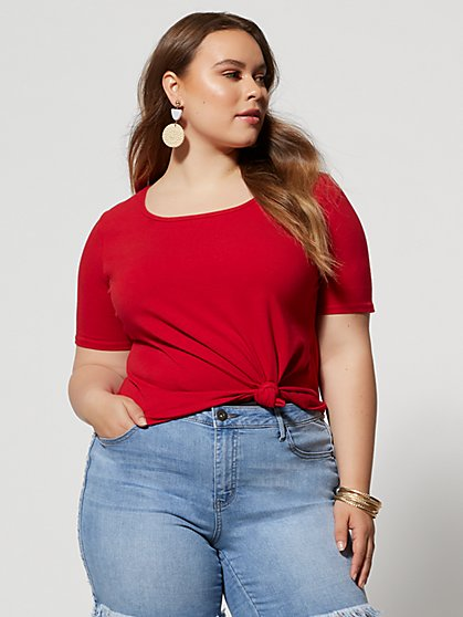 Plus Size Kaiya Square Neck Tee - Fashion To Figure