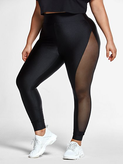 Plus Size Kali Mesh Side Leggings - Fashion To Figure