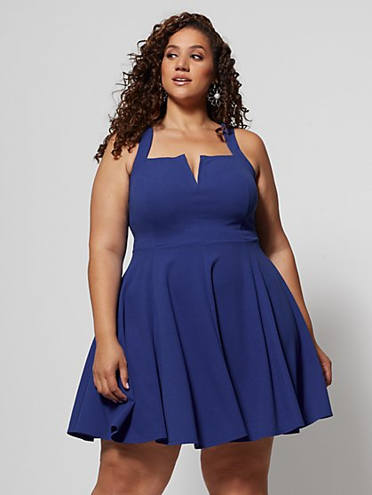 Plus Size Kali V-Cut Detail Flare Dress - Fashion To Figure